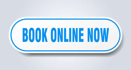 book online now sign. book online now rounded blue sticker. book online now