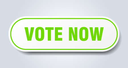 vote now sign. vote now rounded green sticker. vote now Ilustração