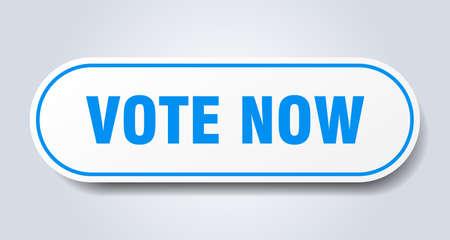 vote now sign. vote now rounded blue sticker. vote now Ilustração