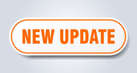 new update sign. new update rounded orange sticker. new update  イラスト・ベクター素材