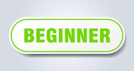 beginner sign. beginner rounded green sticker. beginner Ilustración de vector