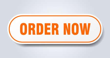 order now sign. order now rounded orange sticker. order now Ilustração