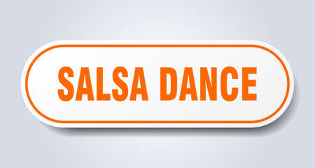 salsa dance sign. salsa dance rounded orange sticker. salsa dance