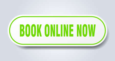 book online now sign. book online now rounded green sticker. book online now