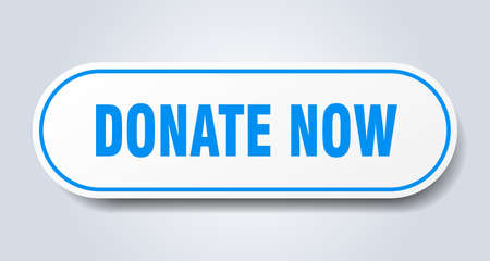 donate now sign. donate now rounded blue sticker. donate now