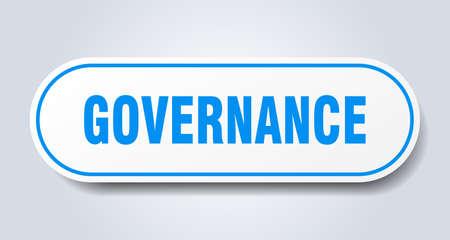 governance sign. governance rounded blue sticker. governance