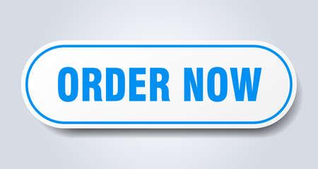 order now sign. order now rounded blue sticker. order now Ilustração