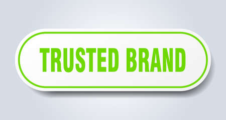 trusted brand sign. trusted brand rounded green sticker. trusted brand