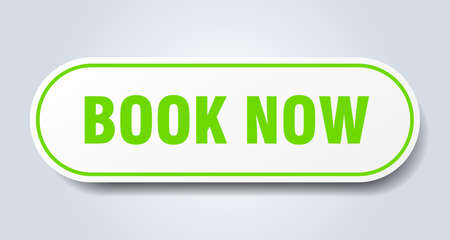book now sign. book now rounded green sticker. book now