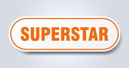 superstar sign. superstar rounded orange sticker. superstar Reklamní fotografie - 129926309