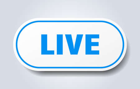 live sign. live rounded blue sticker. live