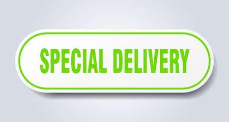 special delivery sign. special delivery rounded green sticker. special delivery