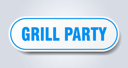 grill party sign. grill party rounded blue sticker. grill party Illusztráció
