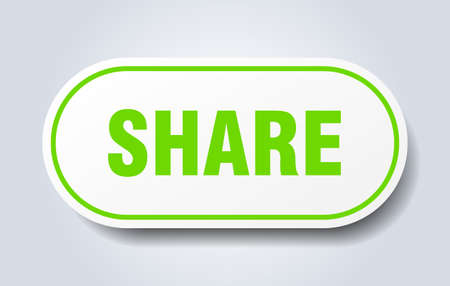 share sign. share rounded green sticker. share