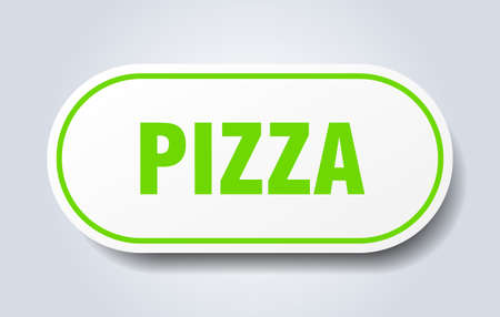 pizza sign. pizza rounded green sticker. pizza