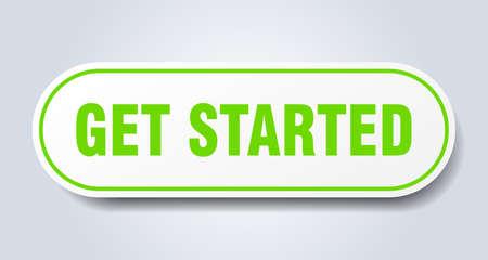 get started sign. get started rounded green sticker. get started