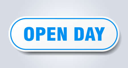 open day sign. open day rounded blue sticker. open day Illusztráció