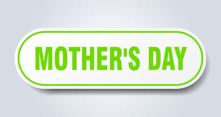 mothers day sign. mothers day rounded green sticker. mothers day