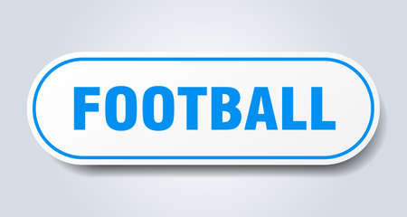 football sign. football rounded blue sticker. football
