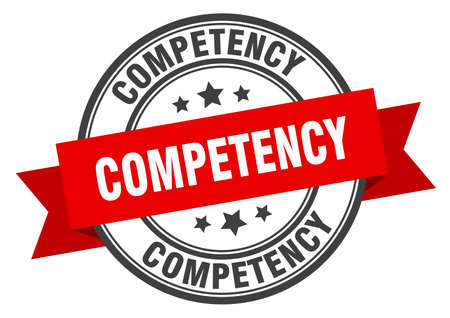 competency label. competency red band sign. competency