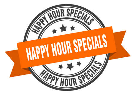happy hour specials label. happy hour specials orange band sign. happy hour specials Ilustrace