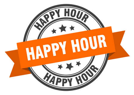 happy hour label. happy hour orange band sign. happy hour