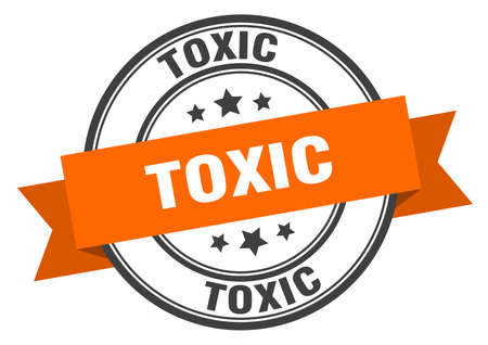 toxic label. toxic orange band sign. toxic Ilustrace