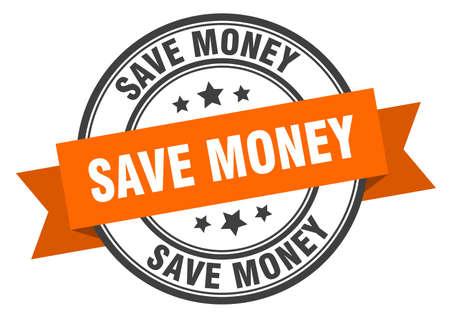 save money label. save money orange band sign. save money Ilustrace