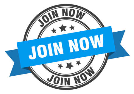 join now label. join now blue band sign. join now Ilustração