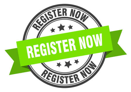 register now label. register now green band sign. register now