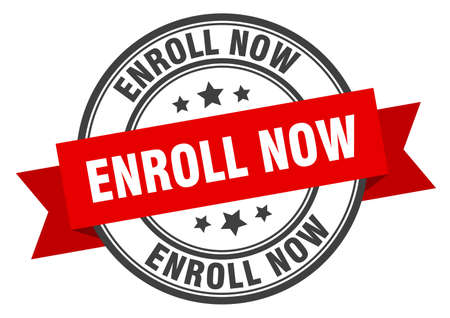enroll now label. enroll now red band sign. enroll now