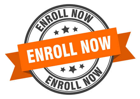 enroll now label. enroll now orange band sign. enroll now Ilustração