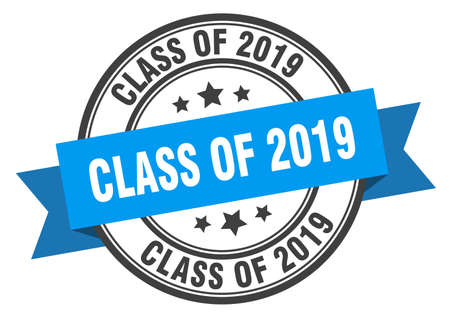 class of 2019 label. class of 2019 blue band sign. class of 2019