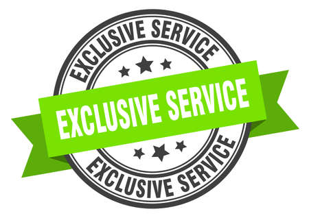 exclusive service label. exclusive service green band sign. exclusive service