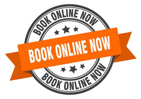 book online now label. book online now orange band sign. book online now Ilustração