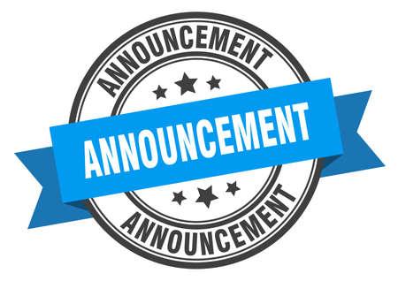 announcement label. announcement blue band sign. announcement