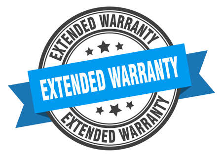 extended warranty label. extended warranty blue band sign. extended warranty