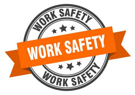work safety label. work safety orange band sign. work safety Stock Illustratie