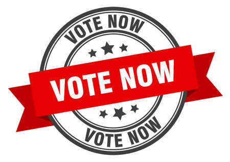 vote now label. vote now red band sign. vote now