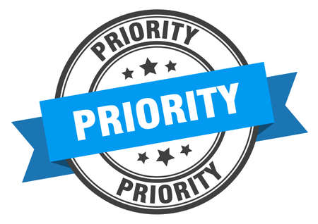 priority label. priority blue band sign. priority Vectores
