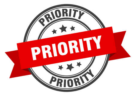 priority label. priority red band sign. priority