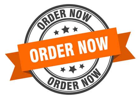 order now label. order now orange band sign. order now Ilustração