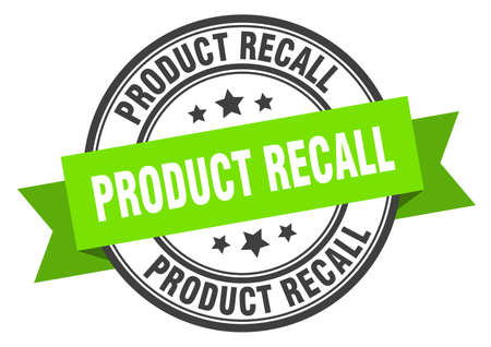 product recall label. product recall green band sign. product recall Ilustrace