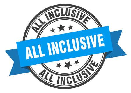 all inclusive label. all inclusive blue band sign. all inclusive