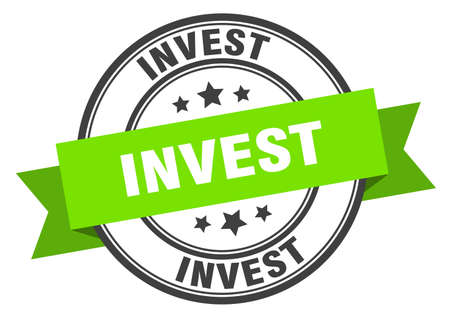 invest label. invest green band sign. invest Ilustrace