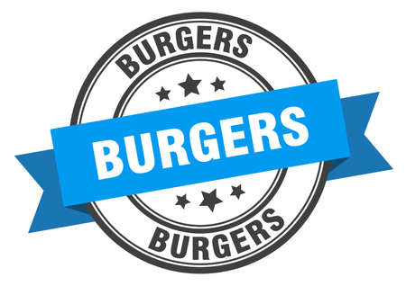 burgers label. burgers blue band sign. burgers