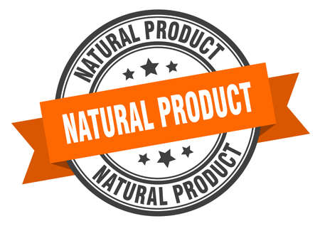 natural product label. natural product orange band sign. natural product