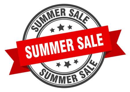 summer sale label. summer sale red band sign. summer sale Ilustrace