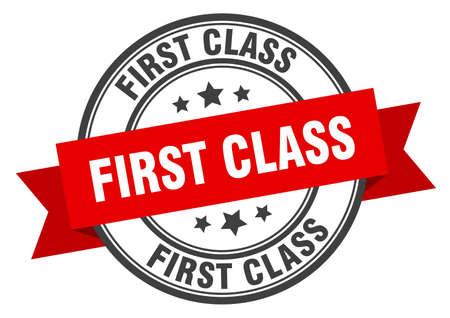 first class label. first class red band sign. first class