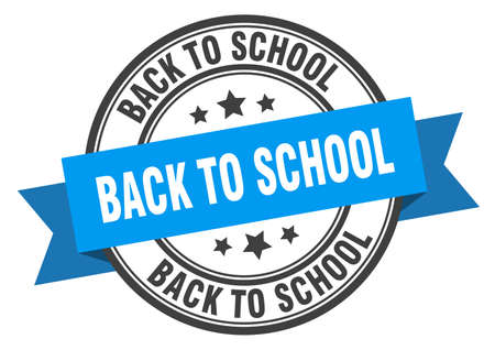 back to school label. back to school blue band sign. back to school